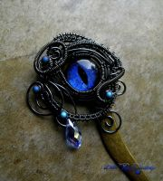 Blue Dragon Eye - Smoke Wire Hair Pin Stick by LadyPirotessa