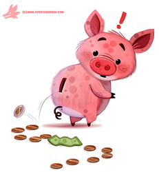 Daily Paint #1183. Piggy Bank by Cryptid-Creations