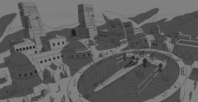 3 Point Perspective of Tatooine by CaptainChihuahua