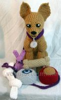 Chihuahua and Toys Plush Crocheted Doll by voxmortuum