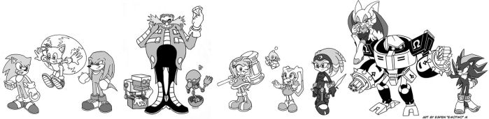 Sonic Character Line-Up v2, inked by emotwo