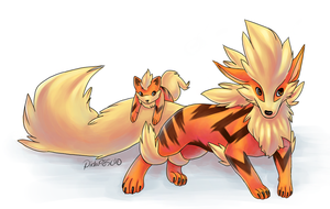 Arcanine and Growlithe.