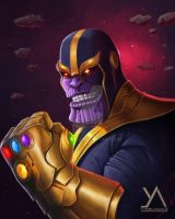 Fan art - Thanos with the infinity gauntlet by yashartz
