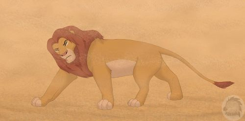 Simba in a sand storm by Kivuli