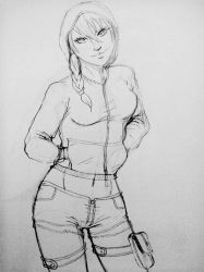 Alice in shorts and a hoodie Pencil Sketch by gorgonbreath