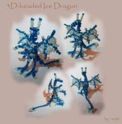Ice blue beaded wire-dragon by Anjet
