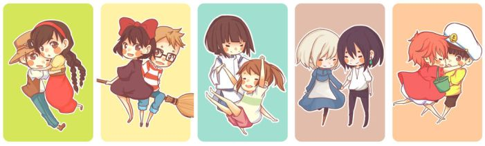 Ghibli Chibi Couples by BottleWonderland