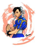 Chun Li brush pen colored by stryfers
