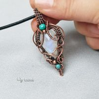 Elvish Moonstone pendant with Turquoise bead by artual
