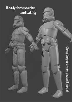Clone trooper phase II ready to be textured by Kulibrach