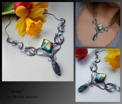 Ione-wire wrapped silver necklace by mea00