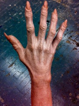 Creature hand in progress for a film by Marc-Opdycke