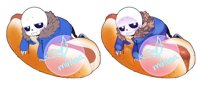 Sans Hotdog Sticker Comparison by minteaparty