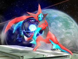 Deoxys Attack over Lucario by Aafyre84