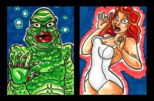 Creature from the Black Lagoon sketch cards by Anamated