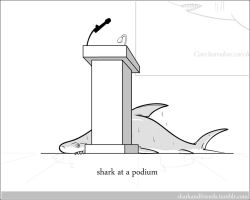 Shark at a podium by Wenamun