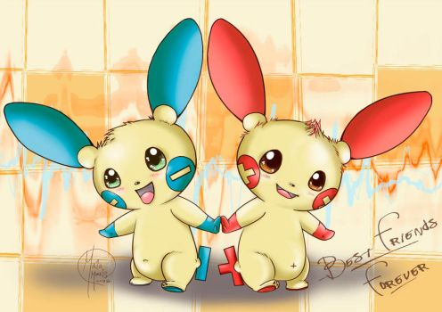 Plusle and Minun Best Friends Forever!! by HavocGirl