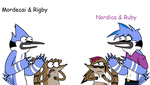 Mordecai and Rigby meet. . . by trickguyshy