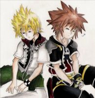 Roxas and sora close up by zen1990