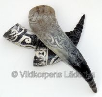 Collection of carved horns by Vildkorpens-Laderlya