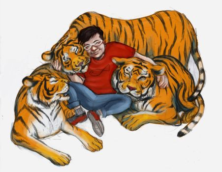 Isaac and his tigers by Boom-a-Lee