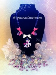 My little pony Rarity necklace by shuiichibrie