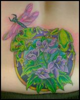 Frogs, flowers and dragonfly by hellcatmolly