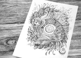 Cat-dragon Coloring Book Page by hontor