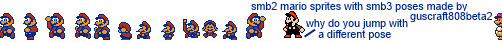 SMB2 Mario Sprites With SMB3 Poses by Guscraft808Beta2