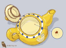 TINY SPIDER IN MY TEAPOT by artofMilica