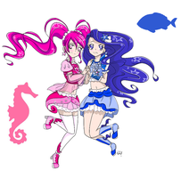 Aquaria Pretty Cure: Cure Coral and Cure Abyss by SonataBlaze