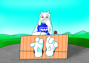 Toriel in the Stocks by InkiCrow