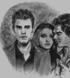 Vampire Diaries Love Trio by Catluckey