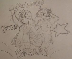 Achieve your dreams! Honoka and Chika doodle by DootDoo