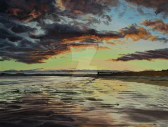 Evening Sky Over Garryvoe Beach by eastcorkpainter