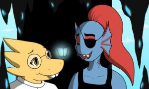 Alphys and Undyne by FliccaFang