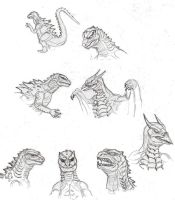 Godzilla2: Godzilla and Rodan sketches by CosbyDaf