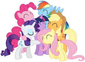 Mane Six group hug in Twilight's mind by Tardifice