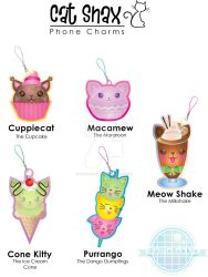Cat Snax Phone Charms by wafflebubble