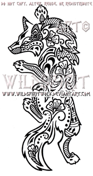 Climbing Henna Wolf Design by WildSpiritWolf