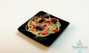 1:12 Mussel Pasta Plate by PepperTreeArt