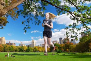 Sophie Turner - Running in Central Park by Natkatsz