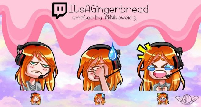Commission- Twitch Emotes- ItsAGingerbread by Nikowise