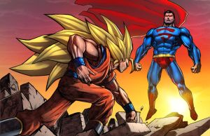 Goku SS3 Vs Superman by SiriusSteve