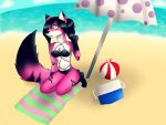At the beach  by Pinkwolfly