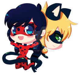 ladybug and chat noir by Lezzette