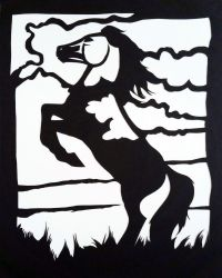 Wild Mustang Papercut Horse by calzephyr
