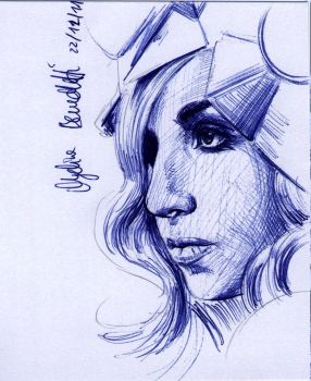 LADY GAGA Sketch Card by AngelinaBenedetti