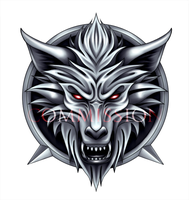 COMMISSION - wolf's head logo by Akiahara