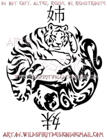 Elemental Tiger + Monkey Sister Yin Yang Design by WildSpiritWolf